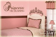 Princess in training quote with tiara and stars vinyl wall art decal sticker - Choose Two Colors. $28.00, via Etsy.