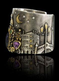 Cuff | Linda Ladurner. 'Manchette - Travelling ~ Venezla'.  Gold, silver, citrine, labradorite, emerald, diopside, amethyst, iolite,
