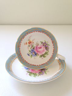 Vintage English Royal Grafton Fine Bone China Grey and white with floral decor