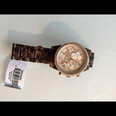 NWT MK Ritz Diamond MK6280 Michael Kors MK6280 Ritz Chronological  Rose gold tone tortoise acetate bracelet watch Michael Kors Accessories Watches