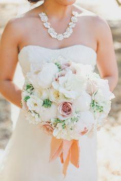 Wedding Bouquet with Peach Ribbon | photography by http://christinefarah.com