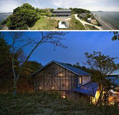 """This awesome barn style home design is a unique workshop / home in Hamamatsu City by Japanese architecture firm Yukiharu Suzuki & Associates. This industrial-chic house has a """"homey"""" twist. Contemporary Barn, Modern Barn, Modern Country, Modern Farmhouse, Japanese Modern House, Japanese Home Design, Barn House Design, Modern House Design, Wood Architecture"""
