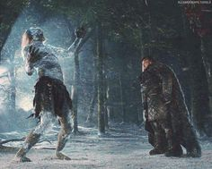 Samwell Tarly killing a white walker on a range north of the Wall
