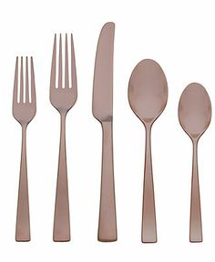 I love this copper flatware! Gorham Flatware, Elemental Copper 5 Piece Place Setting - Flatware Silverware - Dining Entertaining - Macy's Bridal and Wedding Registry. Flatware Storage, Flatware Set, Cutlery, Back To University, Stainless Steel Flatware, Place Settings, Kitchen Gadgets, Kitchen Stuff, Bedding Sets