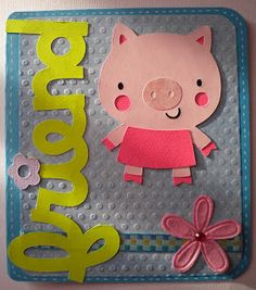 'friend' & pig from Create A Critter 1 Home Crafts, Crafts For Kids, Scrapbook Cards, Scrapbooking, Create A Critter, Cricut Cards, Punch Art, Craft Projects, Card Making