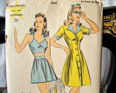 ea35b6d9146 Vintage Hollywood Pattern Beachwear Romper by cynthiasattic Vintage Sewing  Rooms, Vintage Dress Patterns, Vintage