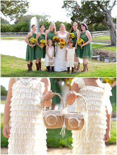 Rustic Wedding in Green with sunflowers; Twisted Ranch Wedding Photography