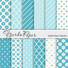 Teal Digital Paper Pack Floral Digital Paper Flowers by YarkoPaper