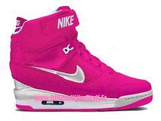 Nike Air Revolution Sky Hi GS - Chaussure Montante Nike Pas Cher Pour Femme Rose/Blanc 599410-ID4