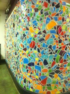 broken fiestaware wall from the restaurant Morning Star in Grand Haven, MI. I will be doing this as a backsplash in my kitchen some day!