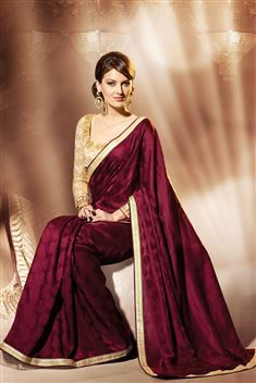 Elegant Jacquard Maroon Designer party wear saree