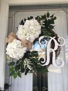 Excited to share the latest addition to my shop: Year Round Wreath Fall Wreath Autumn Wreath Wreaths for Front Door Farmhouse Wreath Monogram Wreath Hydrangea Wreath Rustic Wreath Gift Welcome Signs Front Door, Front Door Decor, Wreaths For Front Door, Door Wreaths, Front Porch, Letter Wreath, Initial Wreath, Autumn Decorating, Fall Decor