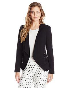 Vince Camuto Women's Drape Collar Double Zip Pocket Blazer, Rich black, 10 >>> Click image to review more details.