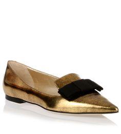 Jimmy Choo Gala mirror gold leather ballerina