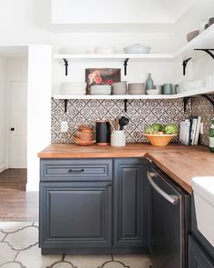 California Country_Kitchen_Emily Henderson_blue wood concrete tile open shelving causal_1