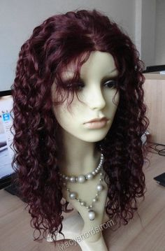 """Full Lace 100% Indian Remy Burgundy Red 99J Human Hair Curly Wig 16"""" Kimi #Unbranded #FullWig"""