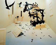 """Jee Young Lee - """"Blackbirds""""...Ok, this woman creates these scenes in her little studio in Seoul, South Korea. She dreams this stuff up (which is brilliant), then she builds each elaborative set by hand, then she takes pics of herself inside the worlds she creates. No Photoshop, no digital enhancements--just her, her ideas, and her worlds."""