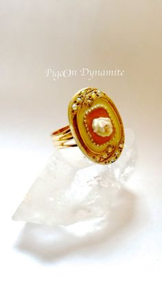 Vintage Enamel Rose Ring with Aurora by PigeonDynamite on Etsy, $38.00 #vintagering