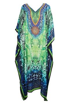 bdbc27b282 Mogul Interior Womens Caftan Dress Green Digital Printed Beach Kimono Kaftan  One Size Beach Kimono