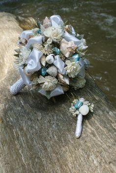Beach Bouquet / Seashell Bouquet w Boutonniere by KagCreations, $97.00