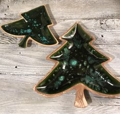 Christmas Tree Candy Dish Set of 2  https://www.etsy.com/listing/559909576/christmas-tree-candy-snack-dish-glazed