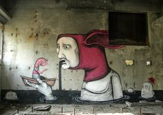 Italian street  art  ilustración sobre concreto.
