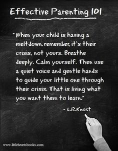 """""""When your child is having a meltdown, remember, it's their crisis, not yours. Breathe deeply. Calm yourself. Then use a quiet voice and gentle hands to guide your little one through their crisis. That is living what you want them to learn."""" 'The Gentle Parent: Positive, Practical, Effective Discipline' by L.R.Knost www.littleheartsbooks.com by gay"""