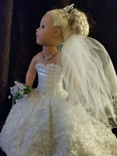 American Girl Summer Bride Gown with many by NormasSpecialDays