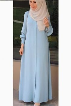 The Stylish and Elegent Abaya In Sky Blue Colour Looks Stunnings and Gorgeous With Trendy and Fashionable French Crepe Fabric. This is a completley customisable product after placing the order our des. Hijab Style Dress, Modest Fashion Hijab, Modern Hijab Fashion, Muslim Women Fashion, Islamic Fashion, Abaya Fashion, Fashion Outfits, New Abaya Style, Stylish Hijab