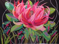 Waratah 2014 by Melinda Bula | art quilt.  A  wonderful depiction, with a very interesting background, as well.