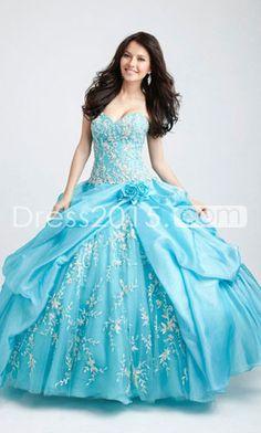 2014 Quinceanera Dresses Ball Gown Sweetheart Floor Length Handmade Flower With Ruffle vestidos de 16 Blue Ball Gowns, Ball Gown Dresses, Bridal Dresses, Evening Dresses, Dress Prom, Blue Gown, Bridal Gown, Sweet 16 Dresses, Pretty Dresses
