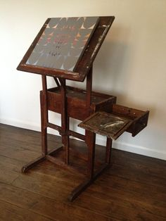 Vintage art easel... side table /box...I WANT THIS!!!