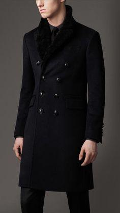 Fancy - Burberry Shearling Collar Chesterfield Coat in Black for Men (navy) | Lyst