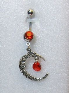 Crescent moon belly ring