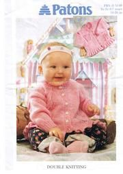 Baby Knitting Patterns Top Patons 5148 Flower and Butterfly Cardigan Baby Cardigan Knitting Pattern Free, Kids Knitting Patterns, Baby Sweater Patterns, Baby Girl Patterns, Knit Baby Sweaters, Knitted Baby Clothes, Knitting For Kids, Baby Knits, Free Knitting