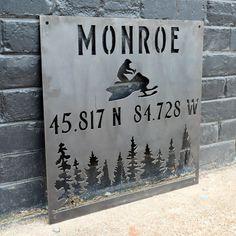 Personalized Metal Winter Coordinates Sign - Rustic Ski Lodge Address Decor - Snowmobile Cabin Wall Art - 18 x 18 / Aluminum Gloss Clear