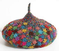 Felted wool beret with embroidery details by Tiny Toadstool $400