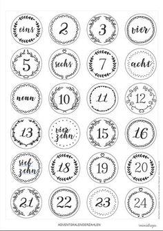 Adventskalender Ideen Advent calendar numbers to print * Printable, freebie for DIY DIY advent calen Advent Calenders, Diy Advent Calendar, Diy Cadeau Maitresse, Diy Calendario, Calendrier Diy, Christmas Time, Christmas Crafts, Christmas Countdown, Thanksgiving Crafts