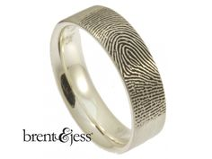 His ring YOUR fingerprint ❤️ From www.brentjess.com - Comfort Fit Fingerprint Wedding Ring with Exterior TIP Print in Sterling Silver - 6mm - Custom handmade fingerprint jewelry by Brent&Jess