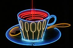 HC Coffee Cup neon sign.