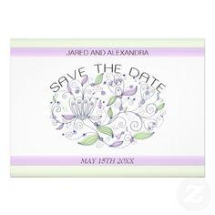 BOHO Chic Garden Wedding Save the Date Purple Personalized Invitations
