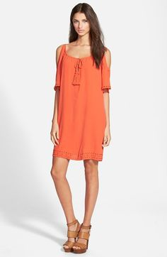Free shipping and returns on 4SI3NNA Cold Shoulder Dress at Nordstrom.com. Cold-shoulder cutouts sweeten a flowy shift dress, while tonal neckline tassels and eyelet trims at the cuffs and hemline enhance the boho-chic spirit.