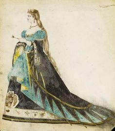 Fashion design by Léon Sault. Woman's masquerade ball dress probably representing the queen of a deck of cards. Probably for Charles Frederick Worth. Paris, Watercolour drawing, a design for a theatrical or masquerade fancy-dress ball costume. Masquerade Ball Dresses, Victorian Fancy Dress, Fancy Dress Ball, House Of Worth, Fashion Illustration Vintage, Timeless Fashion, Vintage Fashion, Victorian Fashion, Fancy Costumes