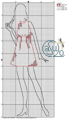 0 point de croix silhouette femme robe courte - cross stitch silhouette girl with short dress 1