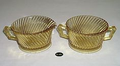 Amber Diana pattern sugar bowl and creamer depression glass.  Made by the Federal Glass Company from 1937-1941