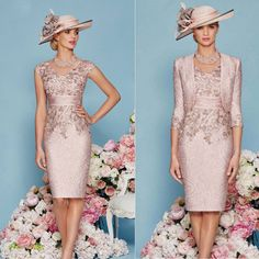 Pageant Mother Of the Bride Knee Length Groom Dress Outfit Jacket Evening Gown Wedding Guest Gowns, Pink Wedding Dresses, Plus Size Formal, Groom Outfit, Groom Dress, Mother Of Bride Outfits, Mother Of The Bride, Mob Dresses, Bride Dresses