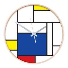 Mondrian Minimalist Modern Art Wooden Wall Clock