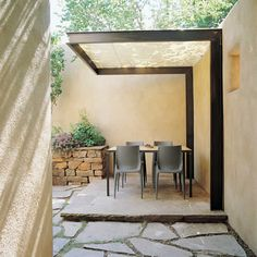Nice use of pattern - dry stack rock, full slab + flagstone.