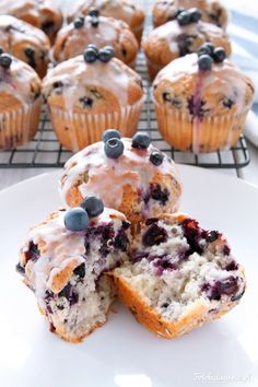 Blueberry Muffins with Lemon Icing.