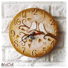 Two Little White Birds On The Tree Wall Clock, OOAK Home Decor for Children Baby Kid Boy Girl